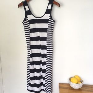 French Connection Blue & White Stripe Fitted Dress